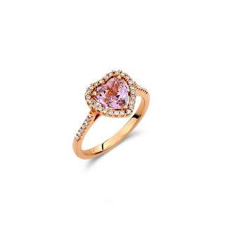 Δαχτυλίδι καρδιά με αμέθυστο & διαμάντια