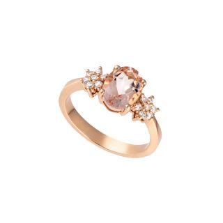 Δαχτυλίδι με μοργκανίτη και διαμάντια