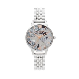 Olivia Burton Abstract Florals Silver Bracelet