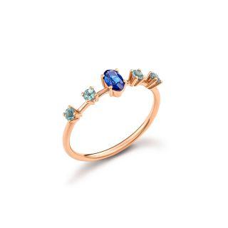 Δαχτυλίδι με ζαφείρι & ακουαμαρίνα