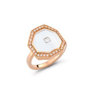 Δαχτυλίδι με διαμάντια & διάφανο σμάλτο