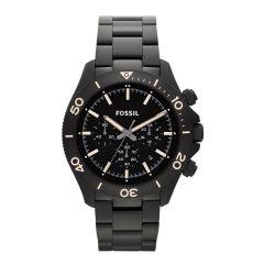 Fossil Retro Traveler Black Chronograph Stainless Steel Watch