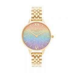 Olivia Burton Rainbow Glitter Dial & Gold Bracelet