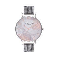 Olivia Burton Abstract Florals Silver Mesh