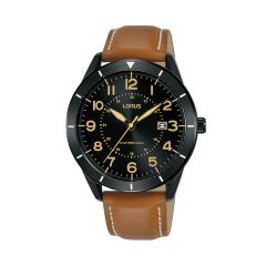 Lorus Sports Date Black / Brown Leather