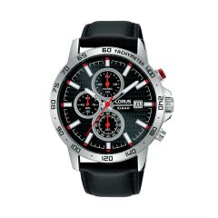 Lorus Sports Date Chrono Silver / Red Black Leather