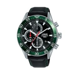 Lorus Sports Date Chrono Silver / Black Green Leather