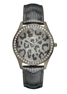 Guess Animal Print Dial Black Leather Strap