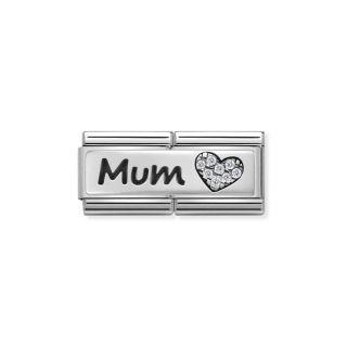 Link Nomination Double Classic Symbols Zirconia Mum And Heart
