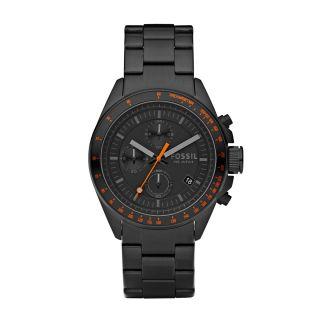 Decker Stainless Steel Watch - Black with Orange