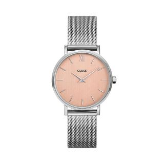 Cluse Minuit Mesh, Silver, Rose Gold