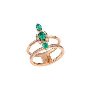 Δαχτυλίδι με διαμάντια & σμαραγδια