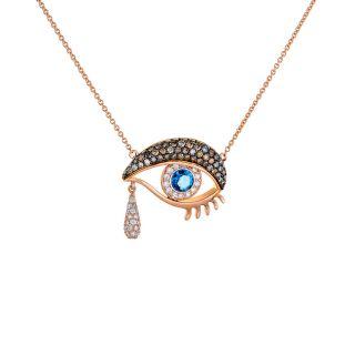 Κολιέ μάτι με ζαφείρι και διαμάντια