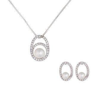 Σετ Κολιέ & Σκουλαρίκια Gloria Hope Silver / Pearl