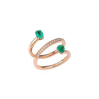 Δαχτυλίδι με σμαράγδια & διαμάντια