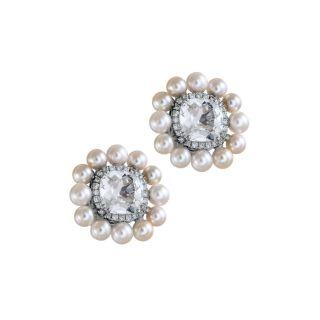 Σκουλαρίκια με μαργαριτάρια & τοπάζι