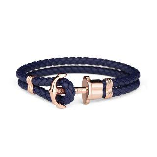 Βραχιόλι Anchor PHREP IP Leather Rose Gold Navy Blue