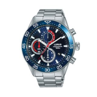 Lorus Sports Date Chrono Silver / Blue Red