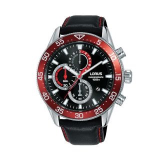 Lorus Sports Date Chrono Silver / Black Red Leather