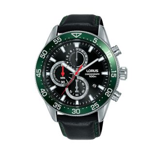 Lorus Sports Date Chrono Silver / Black Green Leather