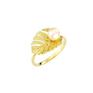 Δαχτυλίδι φύλλο με μαργαριτάρι